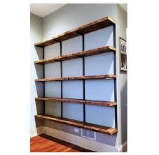 reclaimed wood bookshelf wall mount
