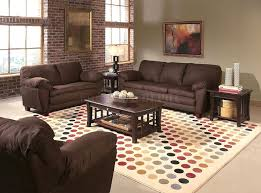 terrific brown living room decor grey painted wall and brick pattern wooden frame window brown sofa