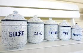 set french vintage antique enamel kitchen canisters blue white provincial melbourne australia