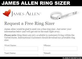 Ring Size Chart James Allen Free Plastic Ring Finger Sizers Jewelry Secrets