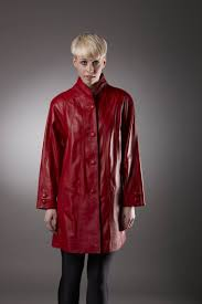 womens leather coat in red