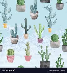 Light Blue Cactus Pattern Of Cactus And Succulents On Light Blue