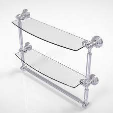 allied brass waverly place collection 18 in 2 tiered glass shelf with integrated towel