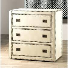 cream colored dresser chest of drawers house faux leather wrapped trunk style 3 drawer accent bedroom