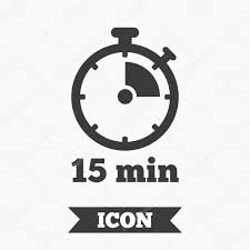 Fifteen Minutes Timer Timer Sign Icon 15 Minutes Stopwatch Symbol Stock Vector
