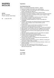 Social Media Associate Resume Sample Velvet Jobs