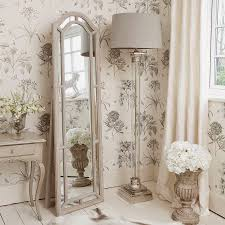 corner shabby chic floor lamp with glass stand and