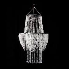 crystal iridescent diamond cut bead swag chandelier