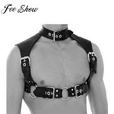 2019 feeshow punk men hombre black leather neck collar adjustable chest harness costume outfit gothic harness from freea 24 43 dhgate
