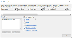Sort And Filter Data For A Mail Merge Office Support