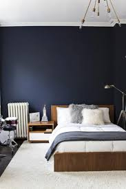 Perfect Go Minimalistic With Your Design By Combining Dark Blue Walls With Simple  White And Brown Furniture.