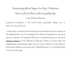 type one grit a paper on low carb and type diabetes link to paper nor zing blood sugars for type 1 diabetics how to do it why to do it and results