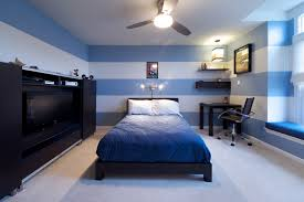 cozy blue black bedroom. Cozy Boys Bedroom Designs With Blue And White Stripes Wall Plus Window  Seat Modern Desk Also Ceiling Fan Tv Storage Black Bed Floating Cozy Blue Black Bedroom L