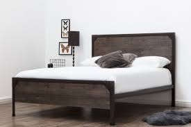 Marlow Rustic Metal Industrial Wood Panel Bed Frame - Double/King Size