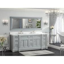 84 inch gray finish double sink bath vanity cabinet with mirror