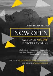 Now Open Flyer Template Outdoor Store Grand Opening Sale Flyer Template Template