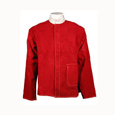 swp red leather welding jacket