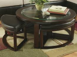 roundhill furniture cylina solid wood glass top round coffee table with 4 stools round coffee table