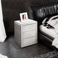 Mirrored Furniture Foxhunter Mirrored Furniture Glass Bedside Cabinet Table With