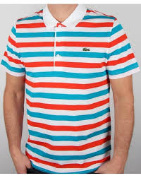 lacoste fine stripe polo shirt white red blue