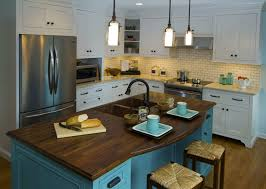 cafecountertops black walnut wood countertop on blue cabinets 1