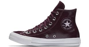 converse chuck taylor all star crinkled patent leather high top women s shoe in red lyst