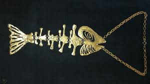 vintage brass tone louis giusti articulated fish skeleton necklace 1890287272