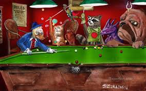animals playing pool puppy oil paintings