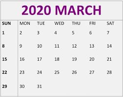March 2020 Calendar Printable Free Blank Template Free