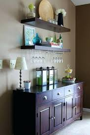 microwave cart with wine glass rack i like these floating shelves the buffet and the wine
