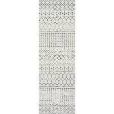 interesting white runner rug nuloom geometric moroccan beads grey runner rug 28 x 8
