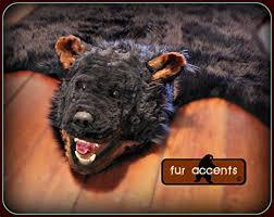 bear fur rug fake black bear skin rug black faux fur accent rug fake taxidermy log