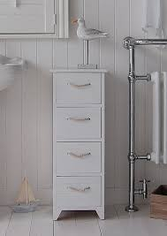 white wooden bathroom furniture. a white wooden painted free standing slim bathroom cabinet with 4 drawers and nautical rope handles furniture r