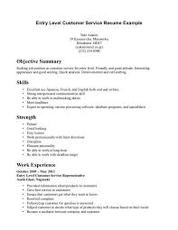 Good Customer Service Resume Extraordinary Resume Entry Level Customer Service Resume Objective Examples
