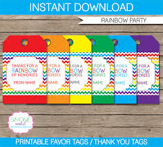 Birthday Tags Template Rainbow Party Favor Tags Thank You Tags Birthday Party