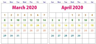 Cute March April 2020 Calendar Printable Calendar Template