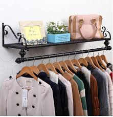 80*28cm Iron clothing racks wall hanger holder bedroom clothes storage  shelves hangers rack hanging