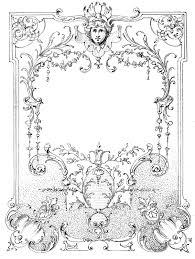 vintage ilration european label frame black white