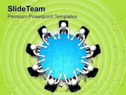 3d human character person at round table powerpoint templates ppt