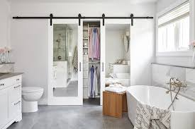sliding mirrored closet door on rails
