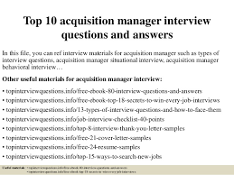 Bank Manager Interview Questions Top 10 Acquisition Manager Interview Questions And Answers