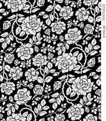 薔薇パターン背景 連続模様 白黒大のイラスト素材 36976820 Pixta