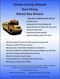 Bus Drivers Needed Clinton County Schools