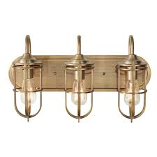 feiss urban renewal 3 light dark antique brass vanity light