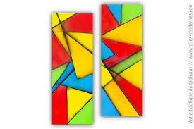 Tableau diptyque coloré : Composition décorative - Tableau Moderne