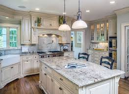 Country Kitchen With Off White Cabinets Bianco Antico Granite And  Farmhouse Sink Pinterest