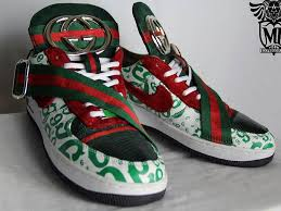 gucci air force 1. custom gucci air force one sneaker. genuine tongue with red suede, partial buckle and logo. toe box is green lizard. 1