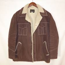 large vintage rancher western sherpa mens brown jacket by jcpenney