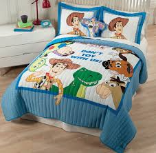 Cute Toy Story Theme Bedcover Twin Pillows With True Story Figures Bedside  Table With Drawers