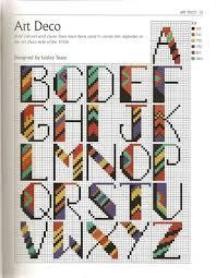 Art Deco Cross Stitch Charts Art Deco Alphabet Cross Stitch Punto Cruz Pinterest